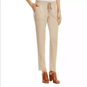 Three Dots Kai Tan Linen Ankle Pants Size Large